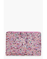 Boohoo Pink Jennifer Multi Sequin Clutch Bag