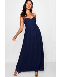 Boohoo Blue Pleated Chiffon Top Bandeau Maxi Dress