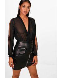 Boohoo - Black Split Sleeve Chiffon Bodysuit - Lyst