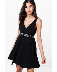 Boohoo Black Abigail Eyelet Detail Dress