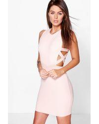 Boohoo Pink Lattice Side Textured Bodycon Dress