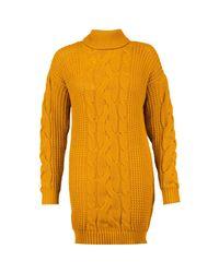 Boohoo Orange Alicia Roll Neck Cable Knit Dress