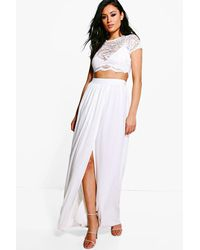 Boohoo   White Keira Lace Crop Bralet And Maxi Skirt Co-ord   Lyst
