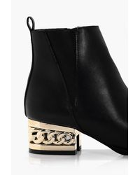 Boohoo Black Victoria Chain Block Heel Ankle Boot