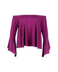Boohoo Purple Plus Heidi Off The Shoulder Dip Back Top