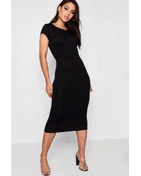 Boohoo Black Cap Sleeve Jersey Bodycon Midi Dress