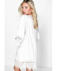 Boohoo - White Rianna Embroidered Edged Beach Kimono - Lyst