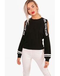 Boohoo - Black Cold Shoulder Slogan T-shirt - Lyst