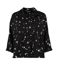 Boohoo Black Serena Metallic Star Print Oversized Blouse