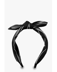 Bandeau Pour Cheveux À Nœud Rayé En Lin - noir - ONE SIZE, Noir Boohoo en coloris Black