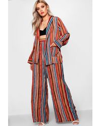 Boohoo Red Plus Wide Leg Stripe Trousers