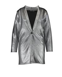 Boohoo Plus Emma Metallic Sliver Blazer Dress