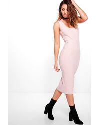 Boohoo Pink Jo Ribbed Square Neck Midi Bodycon Dress