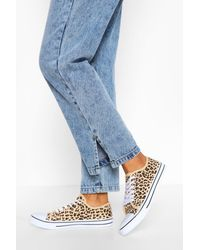 Boohoo Blue Leopard Lace Up Canvas Flat Sneakers