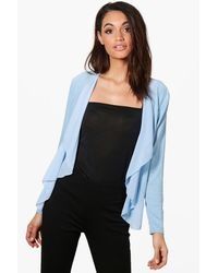 Boohoo Blue Alison Lightweight Waterfall Chiffon Jersey Jacket