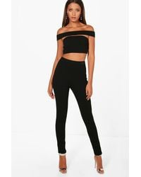 Boohoo Black Tall Emily Off The Shoulder Crop & Trouser Co-ord
