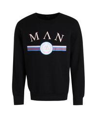 Boohoo | Black Man Retro Print Sweater for Men | Lyst