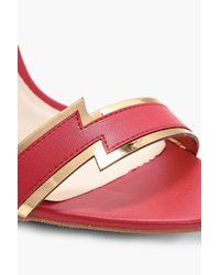Boohoo - Red Mia Thunderbolt Detail 2 Part Heel - Lyst