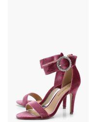 Boohoo Pink Esme Velvet Brooch Trim 2 Part Heel