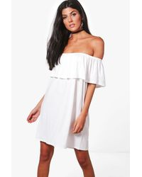 Boohoo - White Pixie Off The Shoulder Swing Dress - Lyst