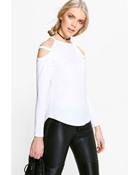 35d05d42e888e8 Lyst - Boohoo Carolyn Caged Cold Shoulder Top in White