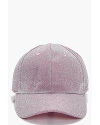 Boohoo Pink Elizabeth Lurex Baseball Cap