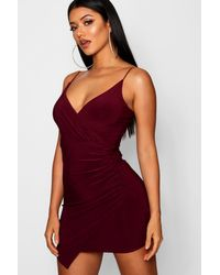 Boohoo Red Wrap Detail Bodycon Dress