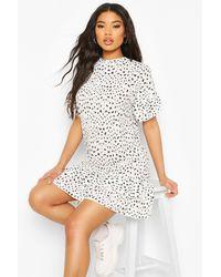 Boohoo White Womens Dalmatian Print Dress With Ruffle Hem & Sleeves