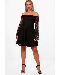 Boohoo Black Plus Rachel Lace Bardot Midi Dress
