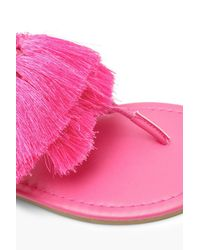 Boohoo - Pink Fringe Trim Wrap Sandals - Lyst