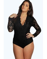 Boohoo Black Womens Plus Lace Long Sleeved One Piece