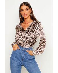 Boohoo Brown Silky Leopard Print Shirt