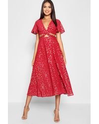 f36342ff504a Boohoo Star Print Cut Out Skater Dress in Red - Lyst
