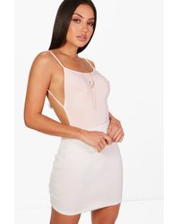 Boohoo Pink Leah Backless Strappy Slinky Body