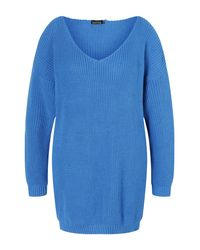 Boohoo Blue Plus V Neck Sweater Mini Dress