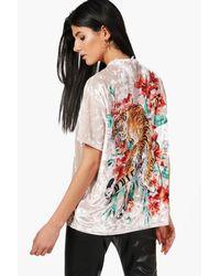 Boohoo Multicolor Mia Oversized Tiger Back Velvet T-shirt