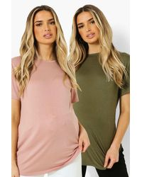 Maternity 2 Pack Crew Neck T-Shirt Boohoo de color Green