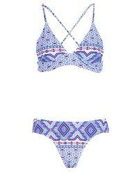Boohoo Blue Folk Tile Print Triangle Bikini