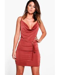 Boohoo Red Janet Cowl Neck Waist Tie Bodycon Dress