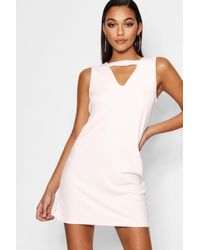 Boohoo Red Cut Out Detail Shift Dress