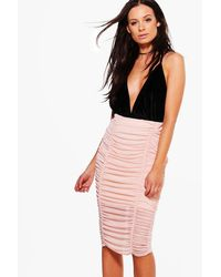 Boohoo Multicolor Binky Rouched Front Mesh Midi Skirt