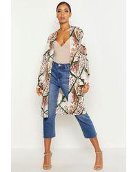 Kimono Tissé Imprimé Animal Mélangé - brun roux - 36, Brun Roux Boohoo en coloris Blue