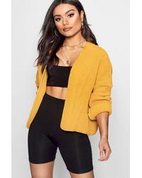 Boohoo Yellow Oversized Rib Crop Cardigan