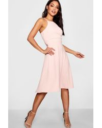 Boohoo Pink Textured Fabric Strappy Full Skater Dress