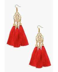 Boohoo - Red Holly Statement Floral Tassel Earrings - Lyst