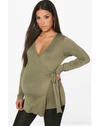 Boohoo Green Maternity Long Sleeve Wrap Top