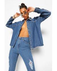 Boohoo Blue Womens Oversized-Jeanshemd Mit Ziernähten