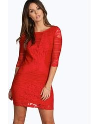 Boohoo Red All Over Lace Panelled Bodycon Dress