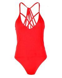 Boohoo Red Lauren Multi Strap Front + Back Bodysuit