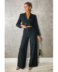 Boohoo Black Womens Woven Tailored High Waisted Wide Leg Pants